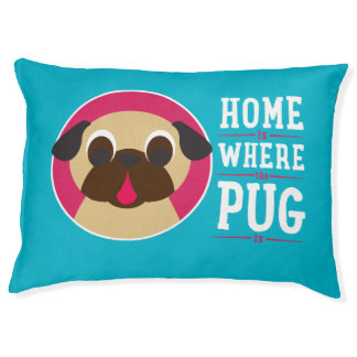 Home Is Where The Pug Is Fawn Pug on Blue Dog Bed Large Dog Bed