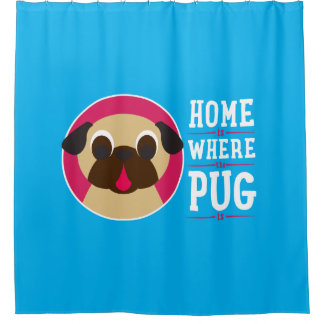 Home Is Where The Pug Is Fawn Pug Shower Curtain