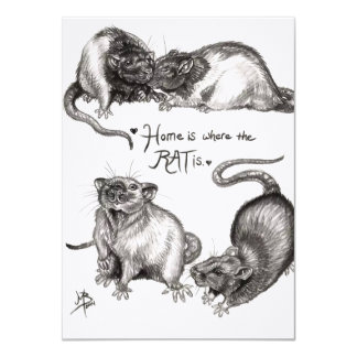 Home is where the rat is card personalized announcements