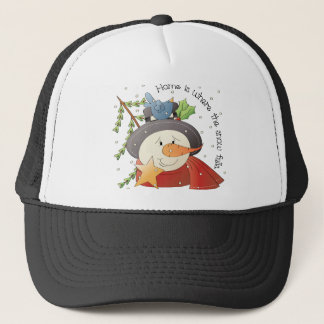 Home Is Where The Snow Falls Snowman Holiday Trucker Hat