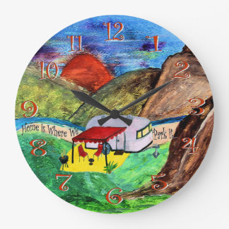 home is where we park it camper wall clock