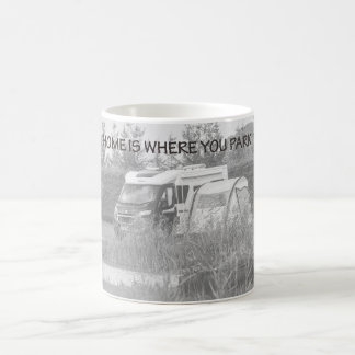 """""""Home is where you park it"""" mugs"""