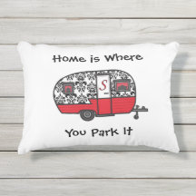 Home is Where You Park It Pillow Outdoor Fabric