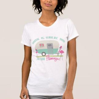 Home Is Where You Put Your Flamingos Retro Trailer T Shirt