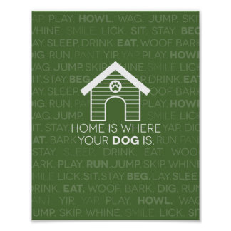 Home is where your dog is quote. poster