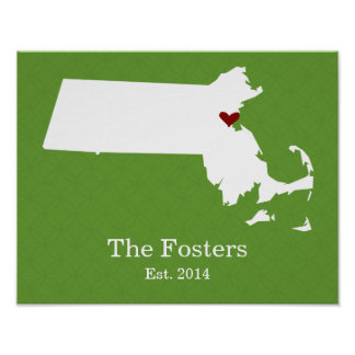 Home is Where Your Heart Is - Massachusetts Print