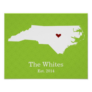 Home is Where Your Heart Is - North Carolina Poster