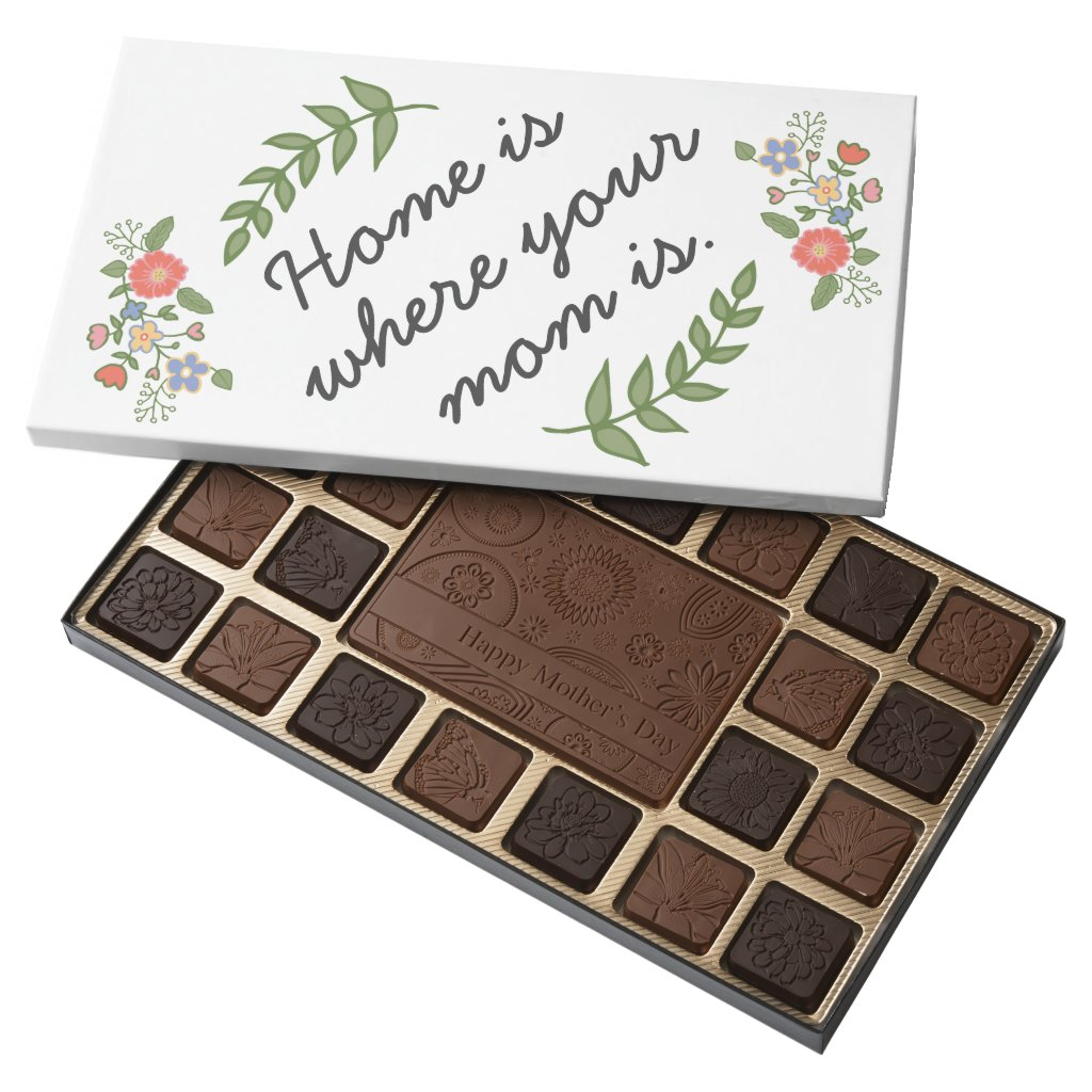Home is where your mom is mother's day gift modern 45 piece box of chocolates