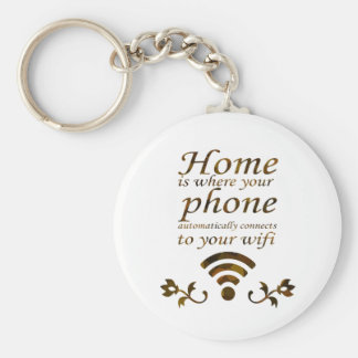 Home is where your phone automatically connects to basic round button keychain