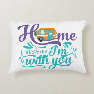 Home is Wherever I'm with you - Cute Retro Camper Decorative Pillow