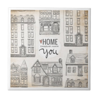 Home is wherever I'm with You Small Square Tile