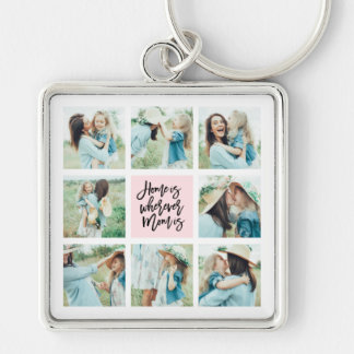 Home is Wherever Mom is Photo Collage Keychain