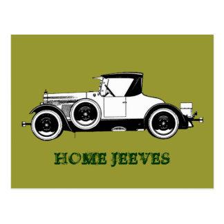 Home Jeeves vintage car Postcard