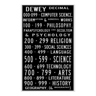 Home Library Dewey Decimal Busroll Poster