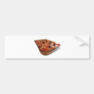 Home made baked pasta on white background bumper sticker