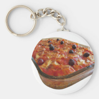 Home made baked pasta on white background keychain