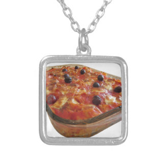 Home made baked pasta on white background square pendant necklace