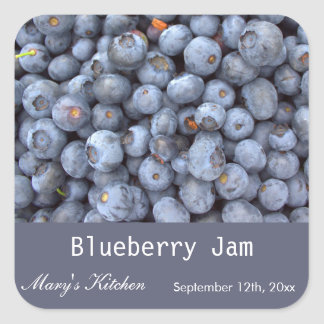 Home made blueberry jam bottle labels. square sticker