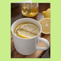 home made cold and flu remedy; lemons and honey card