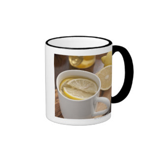 home made cold and flu remedy; lemons and honey ringer coffee mug