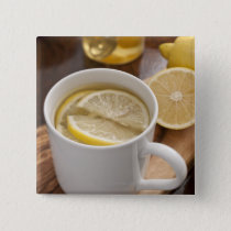 home made cold and flu remedy; lemons and honey pinback button