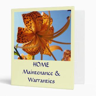 HOME Maintenace Warranties Binder Tiger Lilies