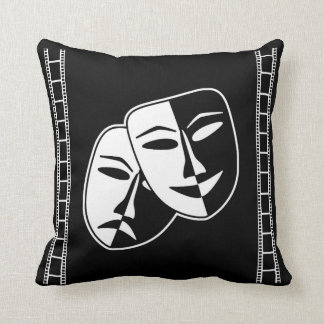 Home Movie Theater Comedy Tragedy Masks Throw Pillow