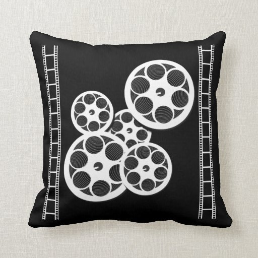 Home Movie Theater Throw Pillow with Film Reels Zazzle