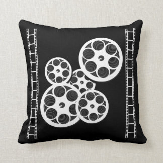 Home Movie Theater Throw Pillow with Film Reels