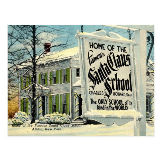 Home of the Famous Santa Claus School Postcard