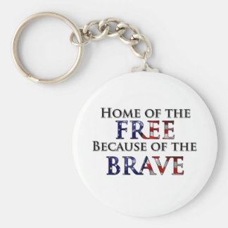 Home of the Free Because of the Brave Basic Round Button Keychain