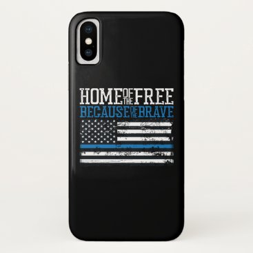 Home of the free because of the brave USA Flag iPhone X Case