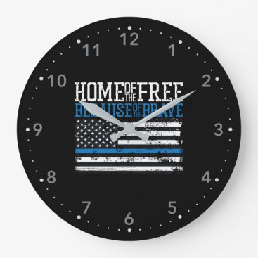 Home of the free because of the brave USA Flag Large Clock