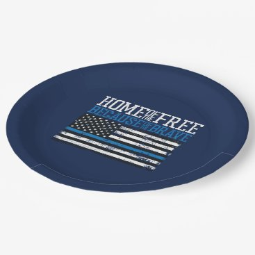 Home of the free because of the brave USA Flag Paper Plate