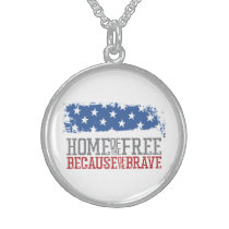Home of the free because of the brave USA Flag Sterling Silver Necklace