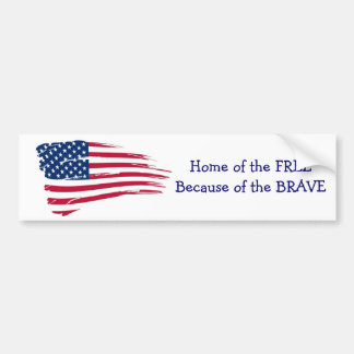 Home of the Free Wavy Flag Bumper Sticker