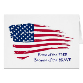 Home of the Free Wavy Flag Card