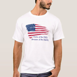 Home of the Free Wavy Flag T-Shirt