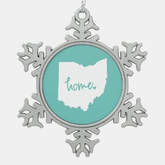 Home Ohio Custom Color Snowflake Pewter Christmas Ornament