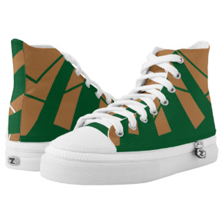 Home on the Range Brown and Green Triad High Top Printed Shoes