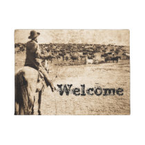 Home on the Range Vintage Cowboy and Cattle Herd Doormat