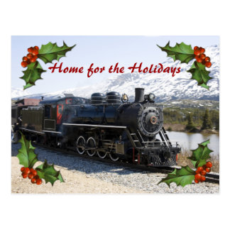 Home on the Train Business Holiday Postcard