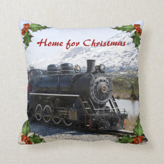 Home on the Train for Christmas Pillow