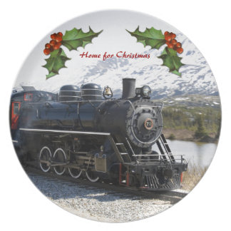 Home on the Train for Christmas Plate