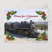 Home on the Train for Christmas Postcard
