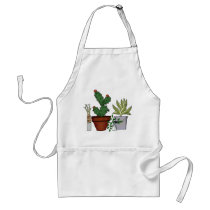 Home Potted Plants Doodle Art Adult Apron