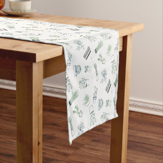 Home Potted Succulent Cactus Plants Doodle Art Short Table Runner