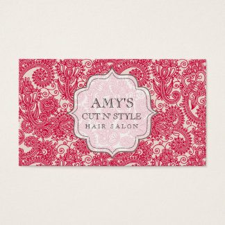 Home Red Salon Designer Hair Stylist Appointment Business Card