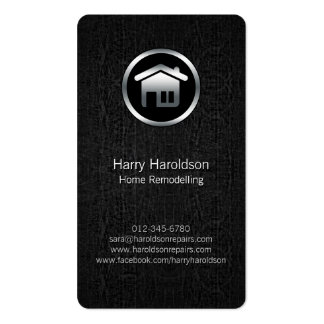 Home Remodelling Silver House Icon Black Business Card