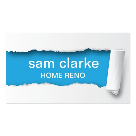 Blue and White Torn Paper Effect Home Renovations Business Cards Template
